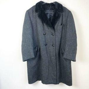 Harris Tweed Unisex Peacoat Gray Black Vintage XL